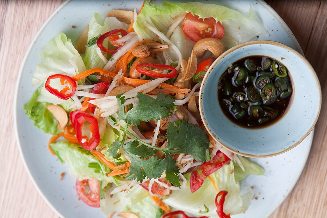 Iceberg & green papaya salad, with a side of scuds