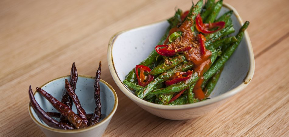 Green beans with chilli garlic relish